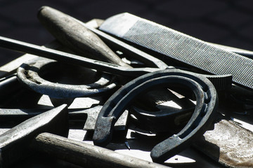 Fototapeta Close-up Of Horse Shoe And Equipment During Sunny Day obraz