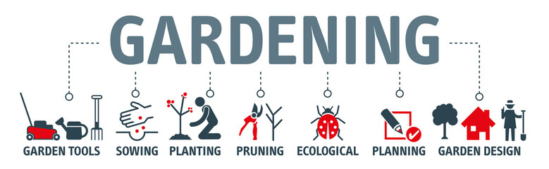 Gardening icons set and design elements