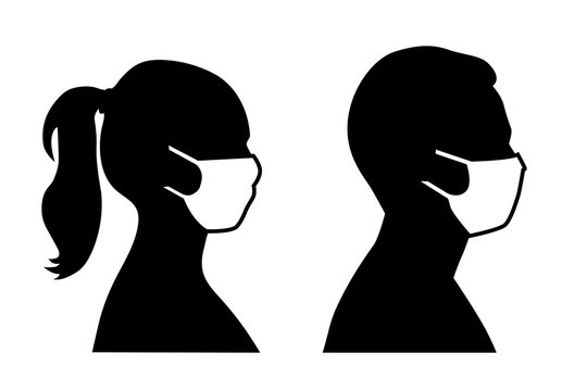 Set of black and white vector icons of a man and a woman wearing protective face mask  - covid-19 safety measures, restriction, covering face to prevent spread of the virus
