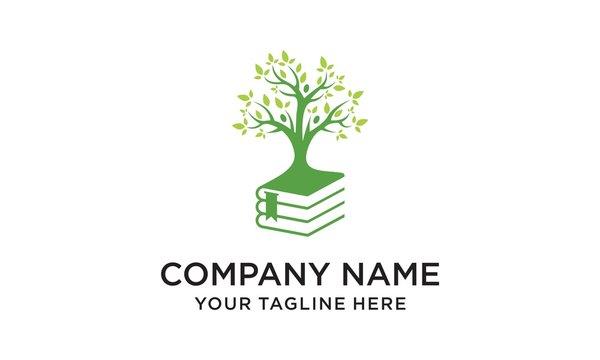tree smart book logo design,Book tree vector design represents school logo, education emblem concept.