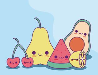 Kawaii fruits cartoons vector design