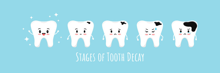 Stages of emoji tooth decay vector icon set.