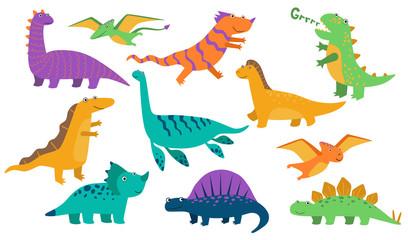 Cute baby dinos set. Funny roaring dinosaurs, cartoon stegosaurus, comic creatures. Vector illustration for prehistoric animals, reptiles, ancient wildlife concept