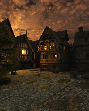 Illustration of a street scene set in a European town during the Middle Ages or Medieval period just after sunset, 3d digitally rendered illustration