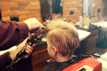 A child at the hairdresser's. A child, a boy, during a haircut at a barbershop.