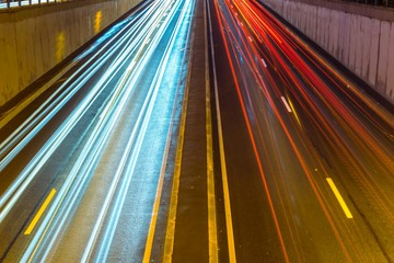 High Angle View Of Illuminated Light Trails On Highway At Night