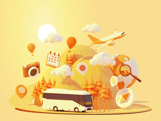 Vector coach bus travel summer journey illustration. Tour bus road trip. Road between mountains with pine trees, hot air balloons. Summer vacation and tourism in tourist bus