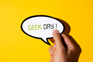 Autocollant pour porte Fleur text geek day in a speech balloon