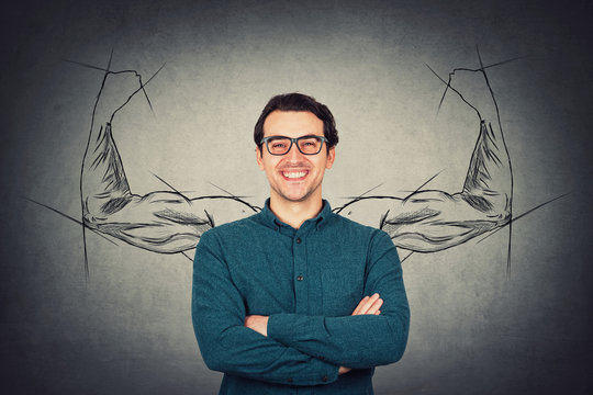 Brave and confident guy keeps arms folded, strong personality, has no fears. Business person wears eyeglasses, powerful hero muscular arms behind his back shows the inner strength. Big biceps sketch.