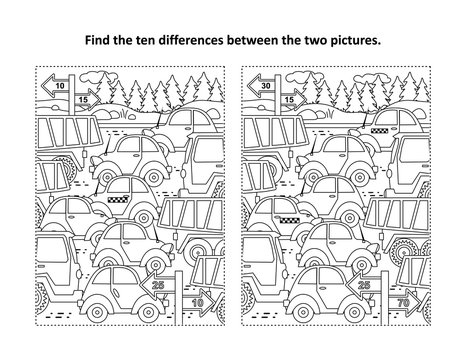 Find the differences visual puzzle and coloring page with retro toy cars and trucks on the road