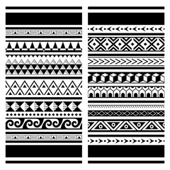 Papiers peints Style Boho Polynesian Maori tattoo seamless vector pattern, Hawaiian tribal design - two geometric patterns set