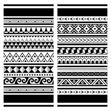 Polynesian Maori tattoo seamless vector pattern, Hawaiian tribal design - two geometric patterns set