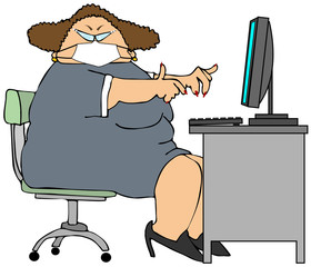 Chubby woman office worker wearing a face mask