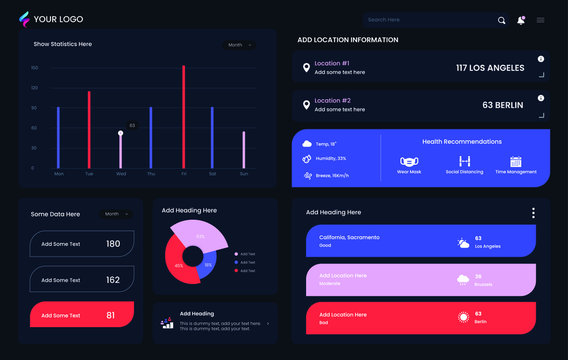Infographic dashboard template. Business, analytics and big data infographic template. Modern presentation with data graphs and Pie Chart. Clean and simple vector Infographic dashboard in adark theme.