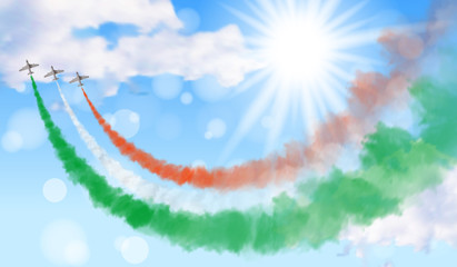 Vector illustration with three planes and trails in green, white, and red colors of the flag of Italy, Mexico, or Hungary isolated on sky background.