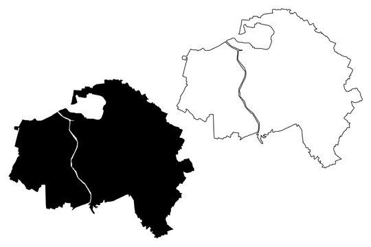 Val-de-Marne Department (France, French Republic, Ile-de-France region) map vector illustration, scribble sketch Val de Marne map