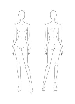 Sketch of the female body. Girl model. Front and back view. Female body template for drawing clothes. You can print and draw directly on the thumbnails. Fashion Illustration.