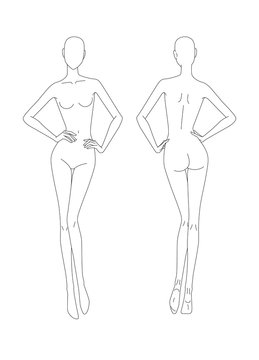 Sketch of the female body. Girl model Front and back view. Pose hands on the belt. Female body template for drawing clothes. You can print and draw directly on sketches. Fashion Illustration.