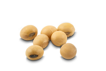 Fototapete - Soy beans on white background with clipping path. Soybean is a kind of legume native to east asia.