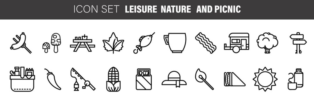 Set of black flat line vector icons for barbecue or picnic outdoor rest on white background.