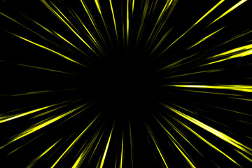 Yellow comic radial speed lines in black background. Action speedline inspired by japanese Anime.