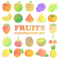 フルーツの水彩イラストセット