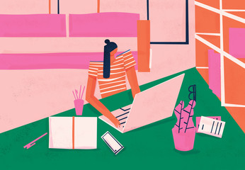 Work from home. Remote worker doing telecommuting at home workspace environment. Colorful conceptual illustration.