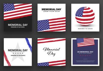 Memorial Day Social Media Post Layout Set