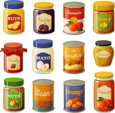 Vector illustration of various food pantry staples in jars and cans isolated on white background