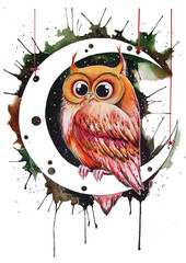 owl on the moon. Watercolor hand drawn illustration