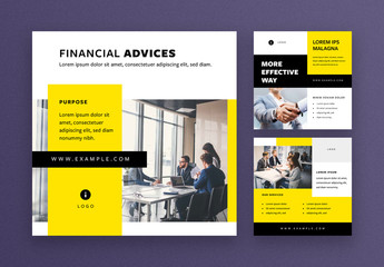 Social Media Post Layouts with Black and Yellow Accents