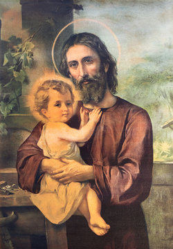 RAVENNA, ITALY - JANUARY 28, 2020: The painting of St. Joseph in church Chiesa di Santa Maria del Porto from 20. cent.