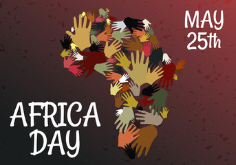 Papiers peints Echelle de hauteur Many Hands for Africa Day, 25 May: Background Concept Vector of African Tribal Hand with continent. Graphic Design Illustration.