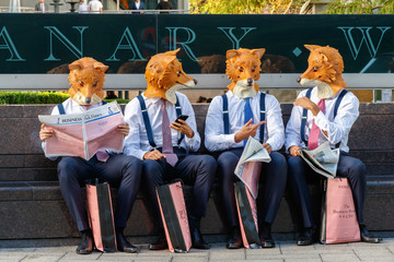 Quirky street promotional campaign from Thomas Pink in Canary Wharf, London