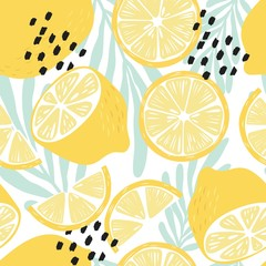Fruit seamless pattern, lemons on white background with tropical leaves and abstract elements. Summer vibrant design. Exotic tropical fruit. Colorful vector illustration