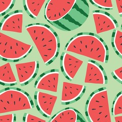 Fruit seamless pattern, watermelon on light green background. Summer vibrant design. Exotic tropical fruit. Colorful vector illustration