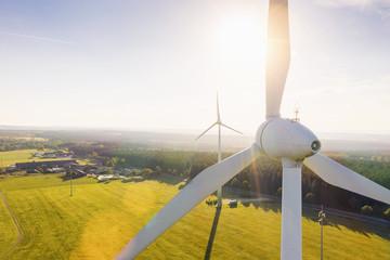 Wind Turbines Windmill Energy at sunset