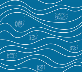 Seamless blue pattern with drawn white fish and waves. Vector abstract marine background. Simple wallpaper, texture, tile.