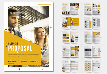 Business Proposal Layout with Orange Accents