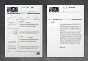 Clean Resume Layout with Turquoise Accents