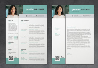 Modern Resume Layout with Turquoise Accents