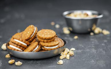 Fresh made Hazelnut Cream Cookies (close up; selective focus)