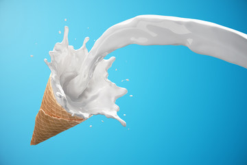 Ice cream waffle cone with milk splash. Milk is poured into waffle cone isolated on blue background. Sweet illustration concept. 3d rendering