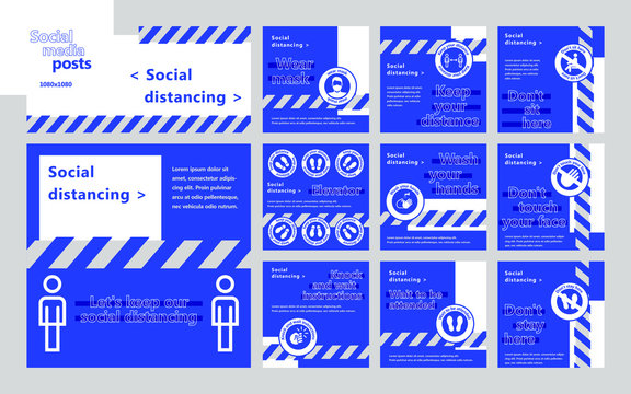 Social distancing for social media posts. For personal and business accounts. Blue background.
