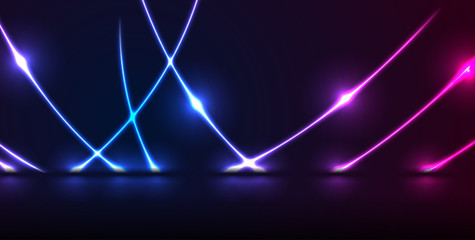 Fotobehang - Blue and purple neon laser curved lines. Abstract rays technology retro background. Futuristic glowing graphic design. Modern vector illustration