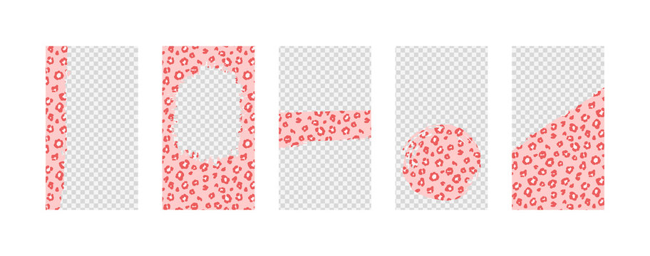 Vector set of background for social networks with abstract shapes and cute leopard pattern. Design with copy space for text and photos.