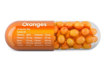 Orange, vitamins and minerals composition in oranges. 3D rendering