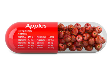 Apple, vitamins and minerals composition in apples. 3D rendering