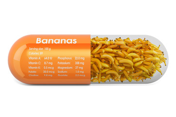 Banana, vitamins and minerals composition in bananas. 3D rendering