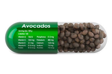 Avocado, vitamins and minerals composition in avocados. 3D rendering